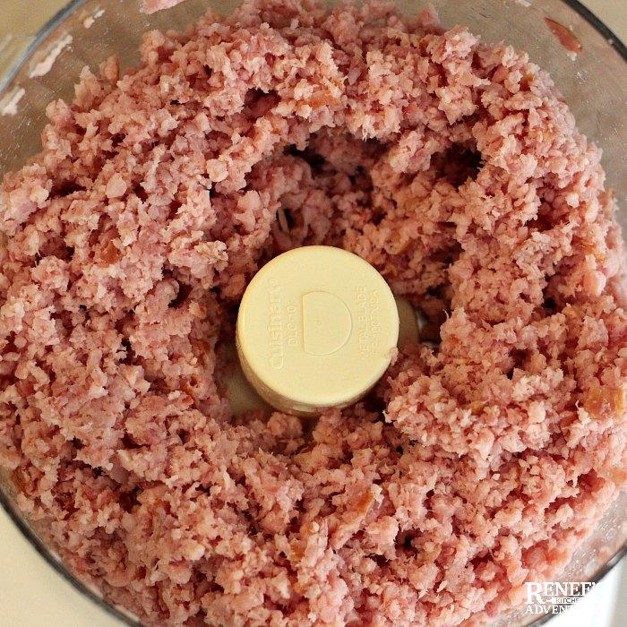 Favorite Ham Salad Recipe by Renee's Kitchen Adventures ground up ham in food processor overhead view