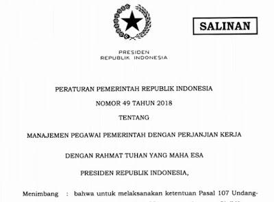 Download Juknis PP Nomor 49 Tentang PPPK Tahun 2018