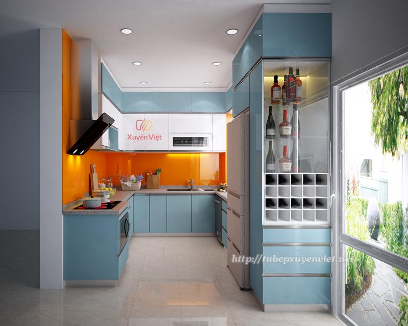 Tủ bếp đẹp làm bằng nhựa pvc chữ u