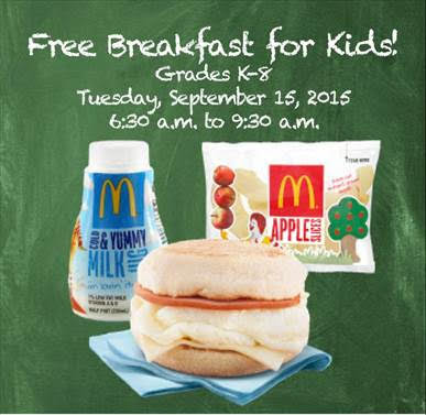 Free McDonald's breakfast Tuesday, Sept. 15 for SoCal Kids
