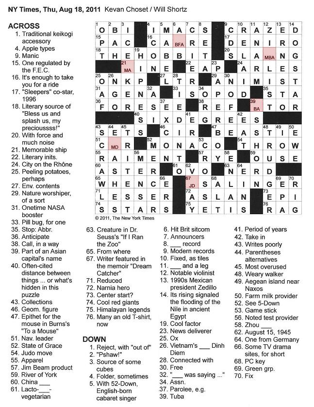 The New York Times Crossword in Gothic: 08.18.11 — Pomp