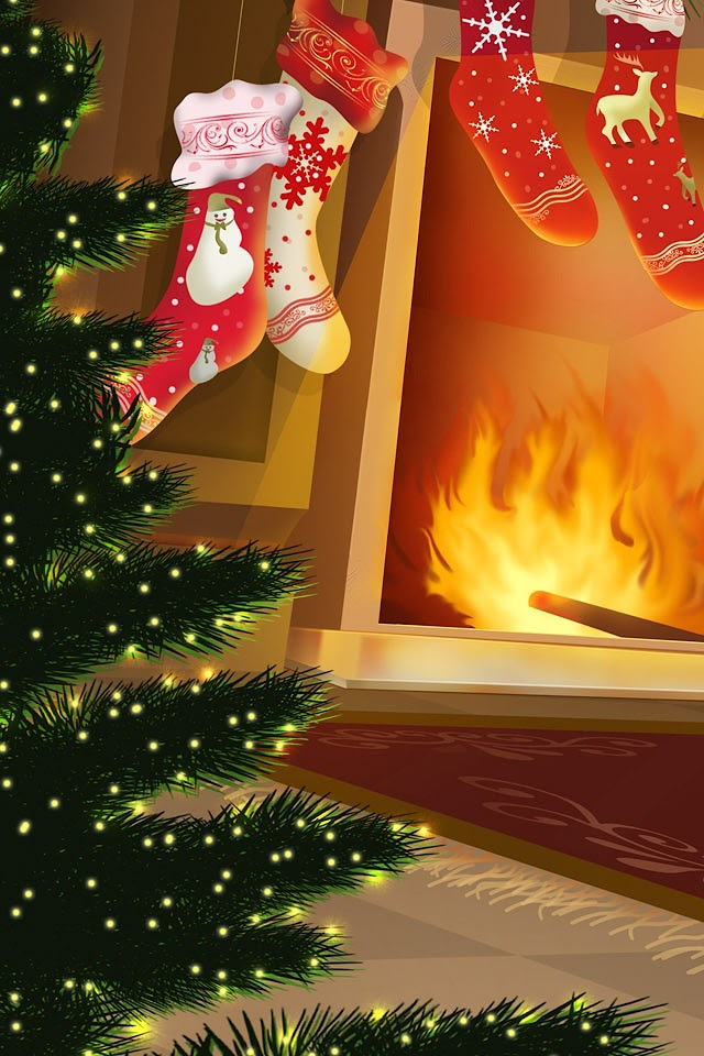Christmas Tree and Chimney  Galaxy Note HD Wallpaper