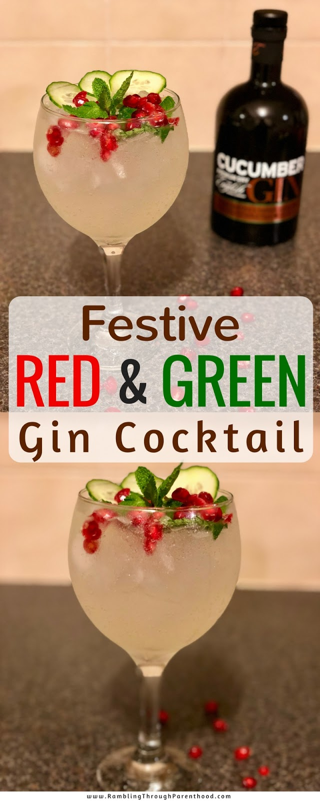 This Red and Green Gin Cocktail is the perfect drink for this festive season. Liven up your Christmas or New Year party with this quick and easy gin cocktail recipe.