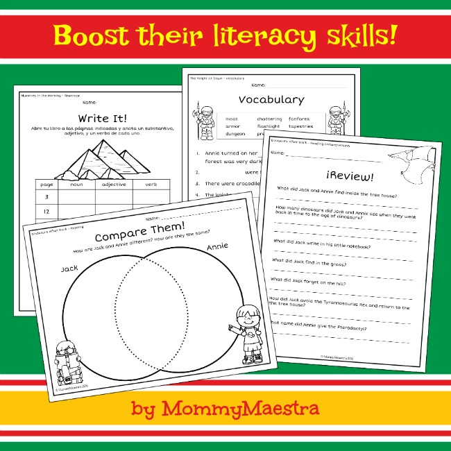 Mommy maestra la casa del rbolthe magic tree house activity pages it covers the first three books in the series and has activity pages to boost your childs reading and writing skills ccuart Images