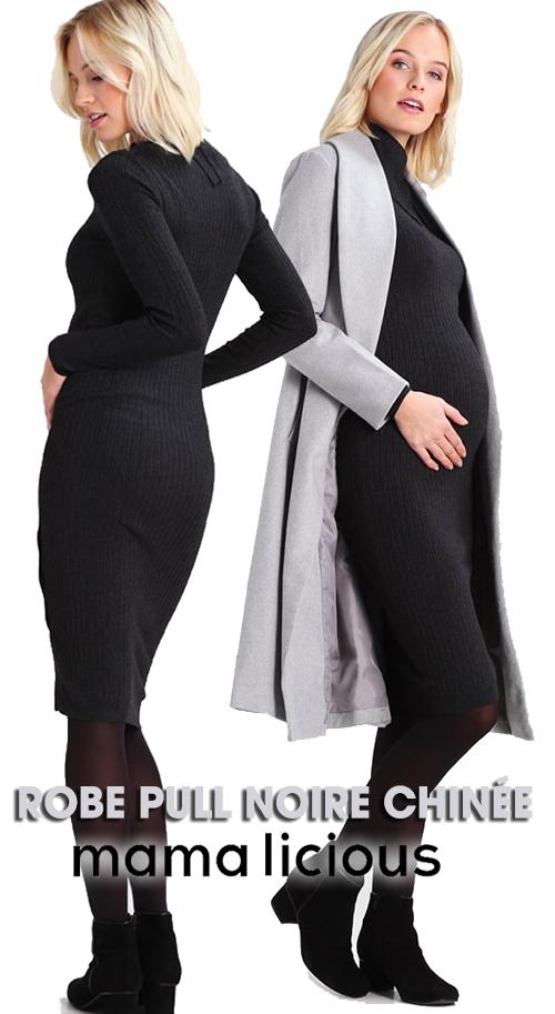 Robe pull noire chinée de grossesse MAMALICIOUS