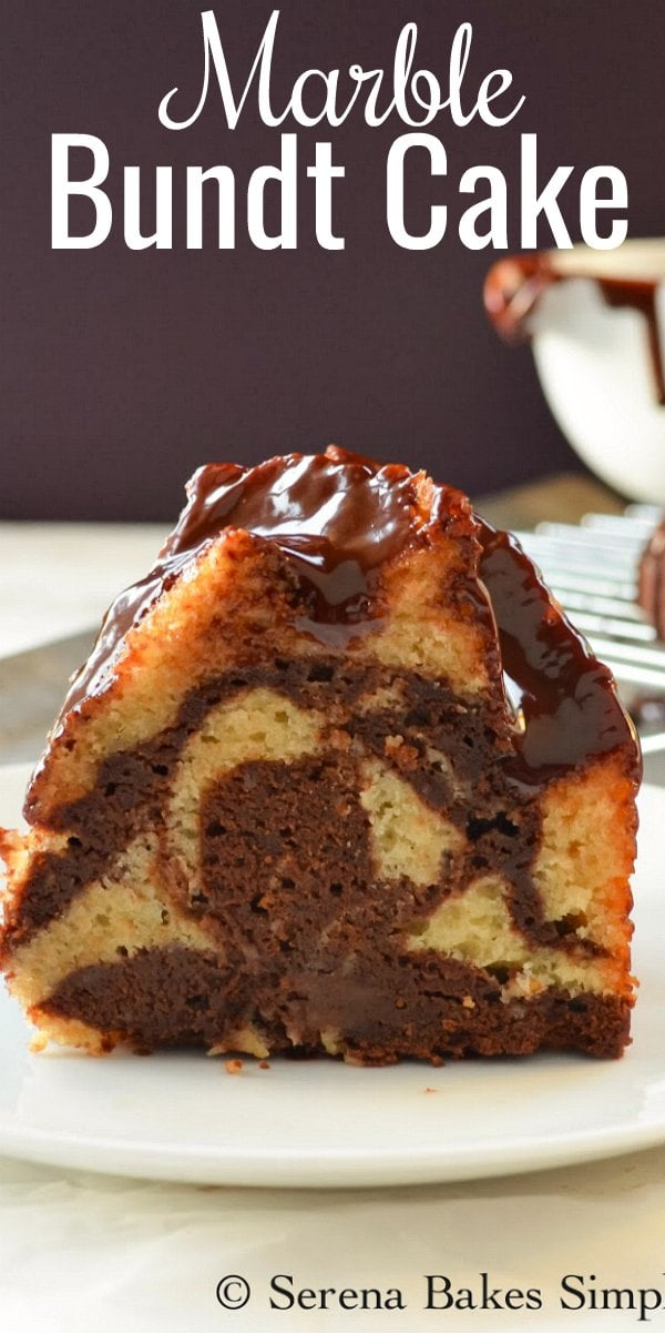 Moist Buttermilk Chocolate Marble Bundt Cake recipe with a glossy chocolate glaze is a favorite cake for dessert from Serena Bakes Simply From Scratch.