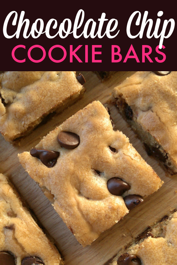Chewy Chocolate Chip Cookie Bars. I like to make these for Valentine's Day or Christmas by adding a handful of holiday M&Ms to the top before baking!