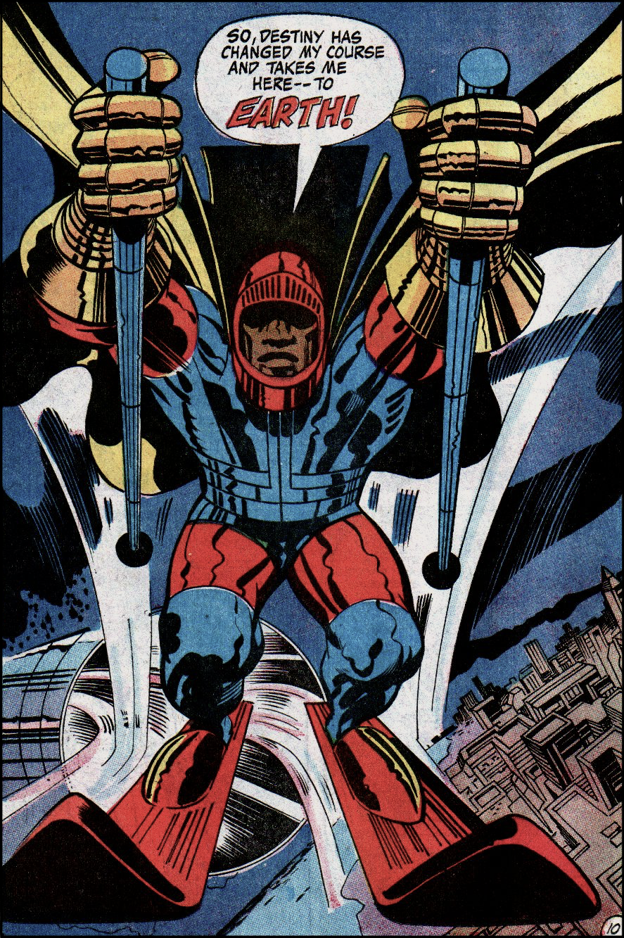 Panel of The Black Racer, a man wearing a cape and colorful armor on skis with poles, emerging from a Boom Tube in the sky / 'So, Destiny has changed and my my course and takes me here -- to Earth!