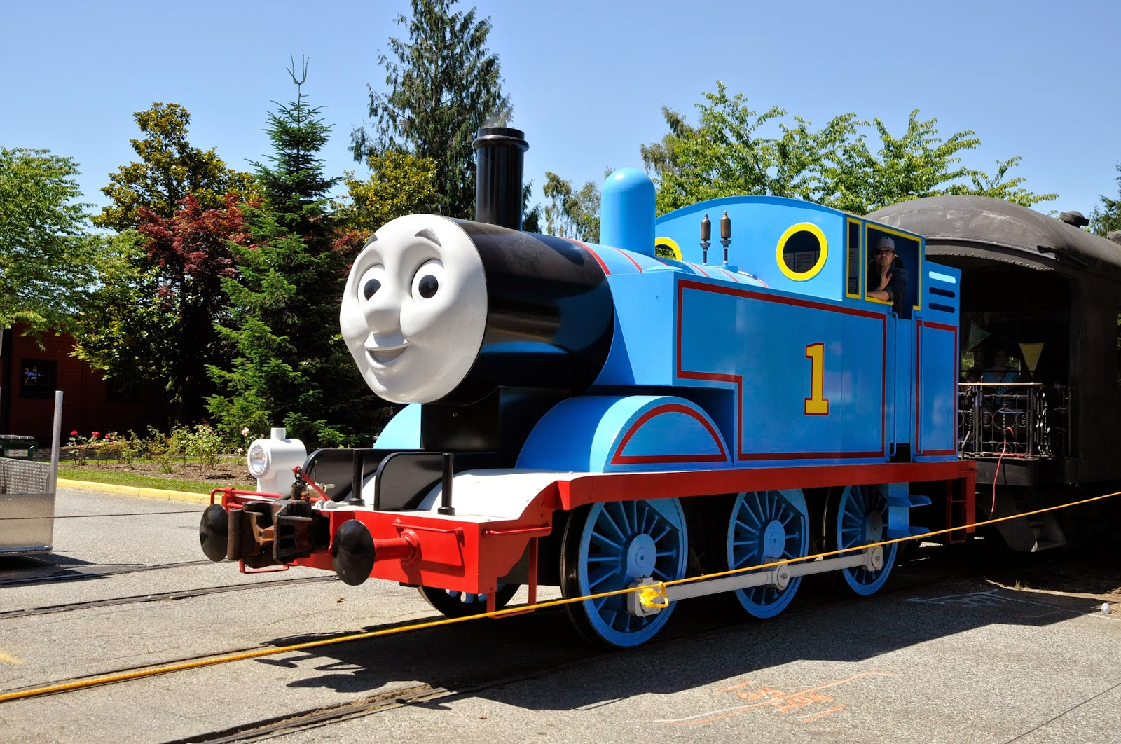 Thomas the Tank Engine approaches the Snoqualmie Depot on July 11, 2014.