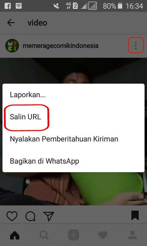 cara download  video instagram salin url
