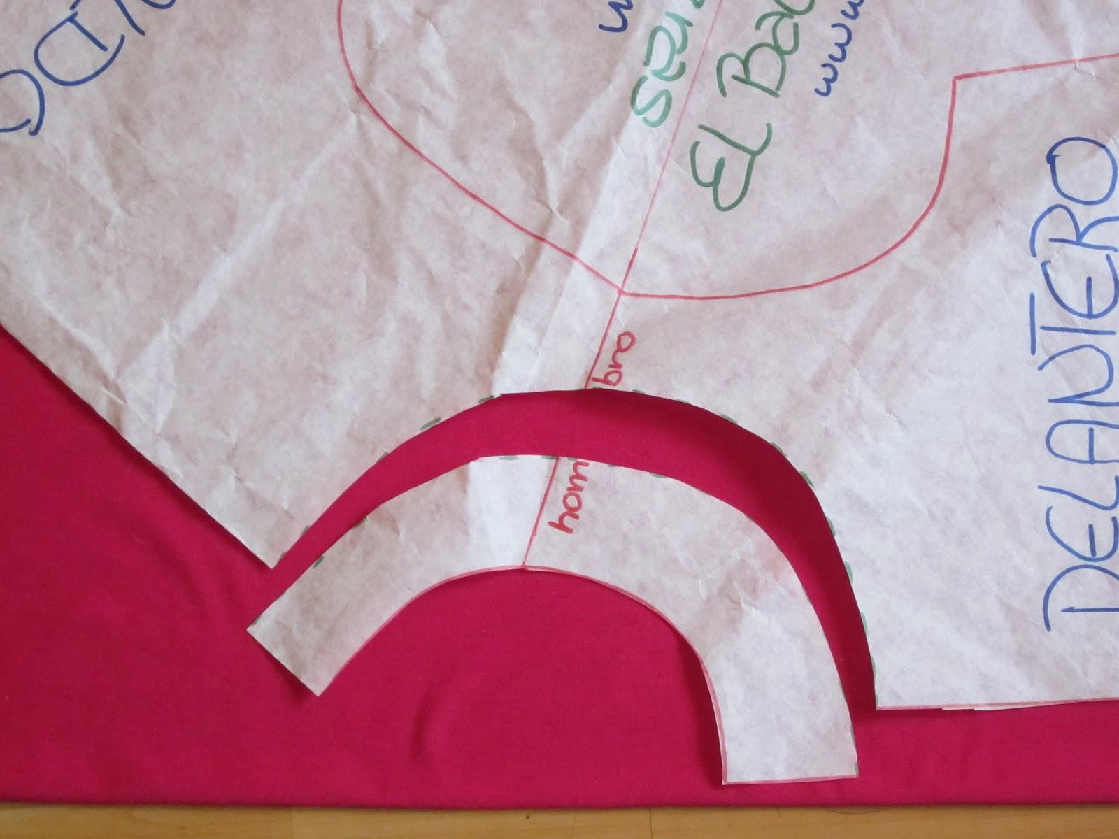 Confección blusa manga dolman. Delantero y Escote