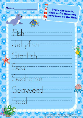 ocean animals trace words handwriting worksheet