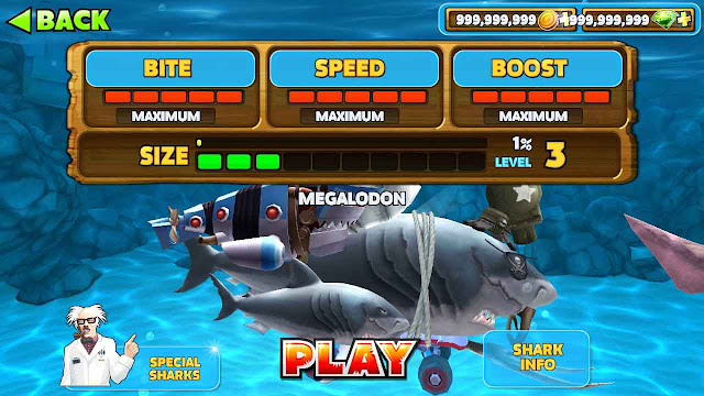 jenis hiu di hungry shark evolution