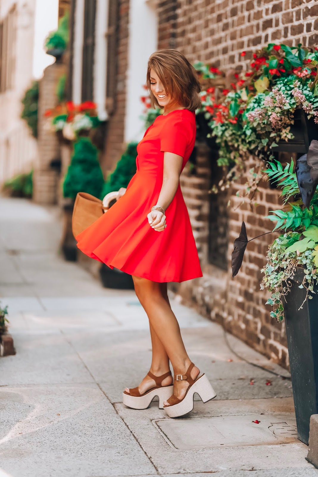 Under $60 Scallop Red Dress in Charleston + Target Style Straw Bag - Something Delightful Blog #springstyle