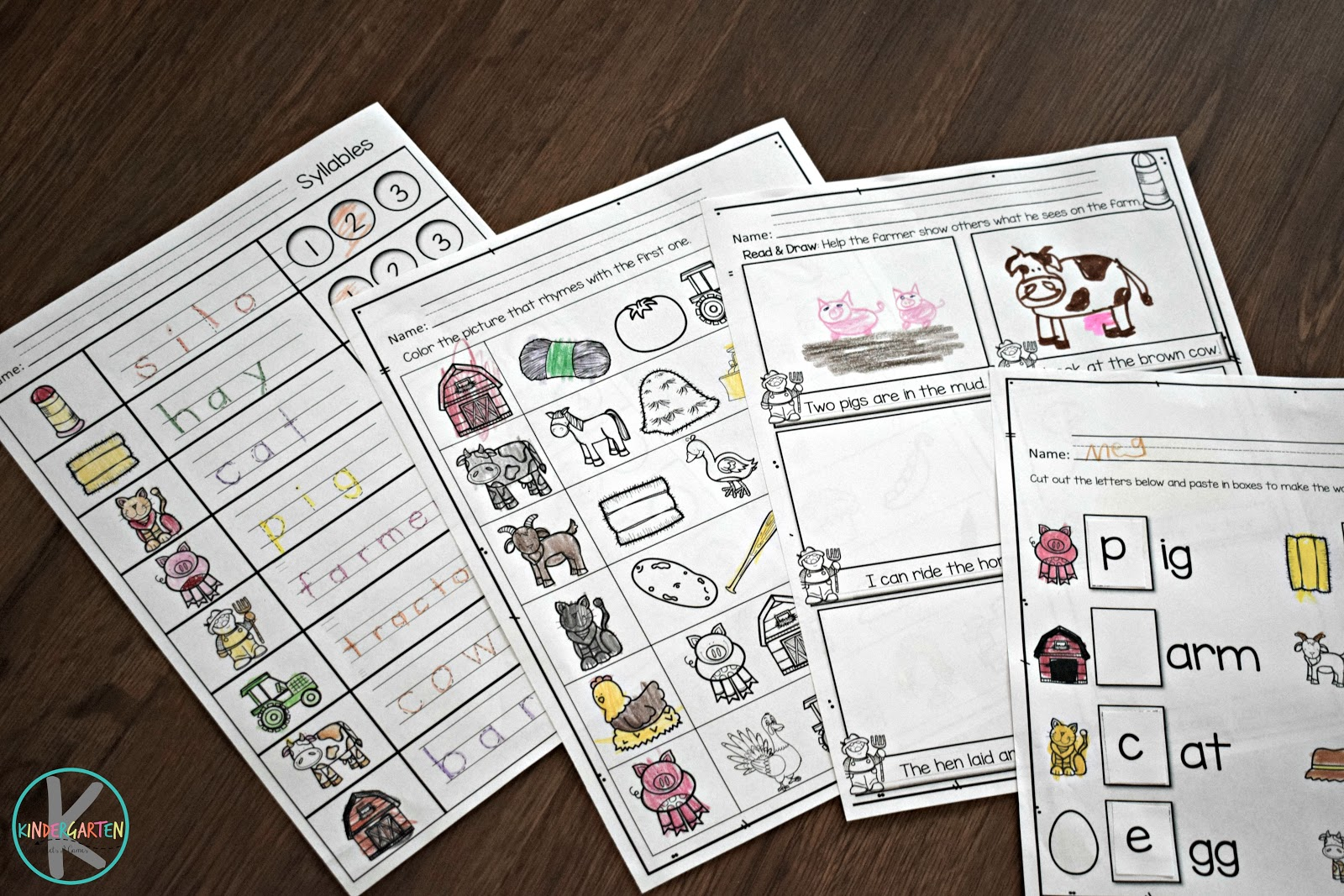 Kindergarten Worksheets And Games Huge Farm Unit For