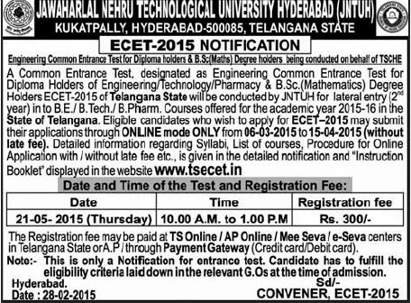 ts ecet 2015 notification, tsecet 2015 important dates, contact numbers, edit application forms, official online submission website