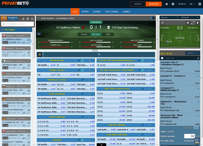 Privatbet Live Betting Screen