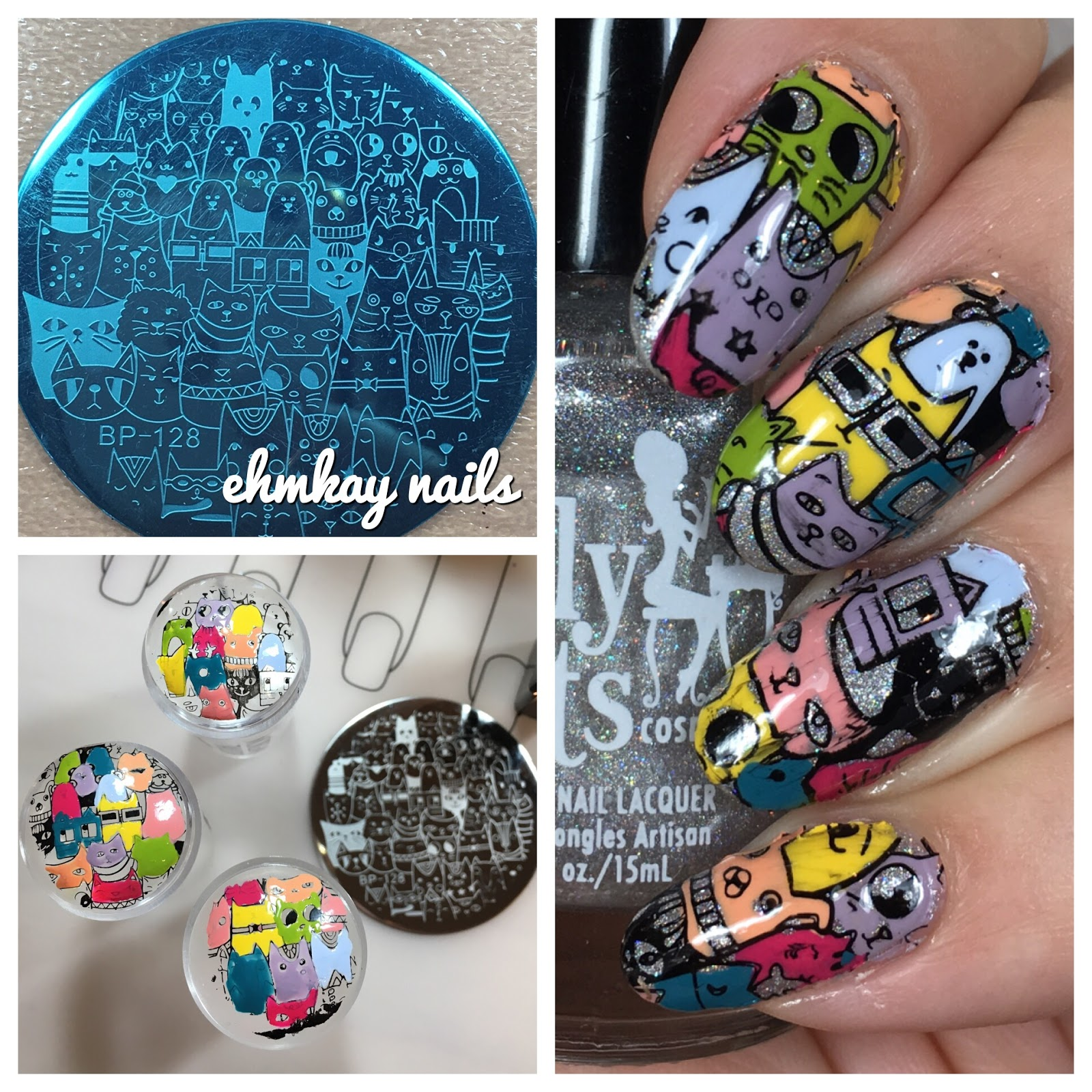 ehmkay nails: Born Pretty Cat Plate: Reverse Stamping Decals