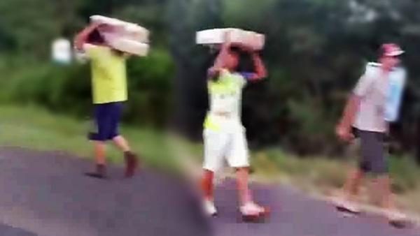 saqueando carga caminhão