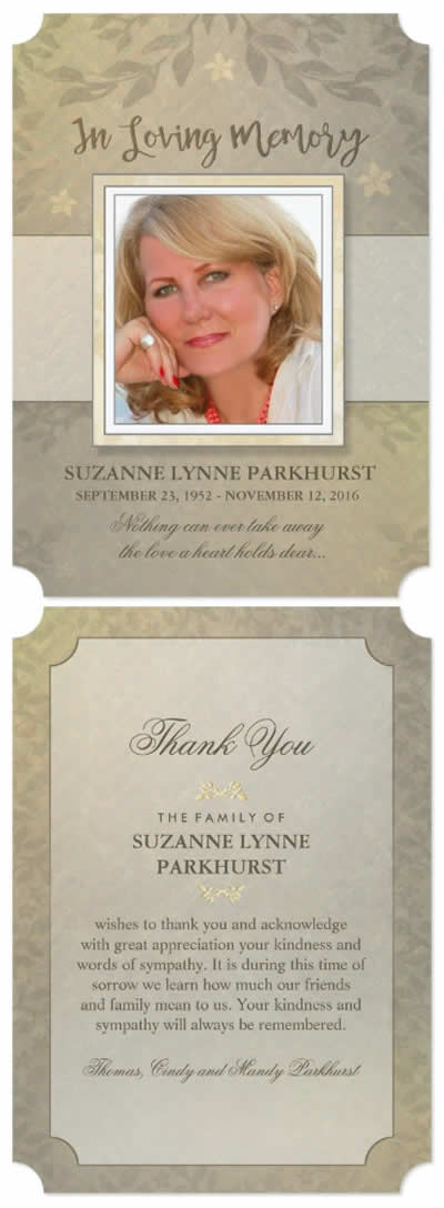 floral beige sympathy thank you card front and back