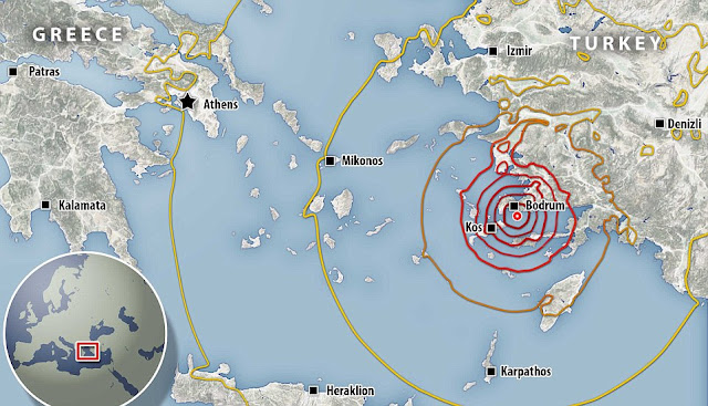 Earthquake Strikes Greece And Turkey, Sea And Waves Roaring