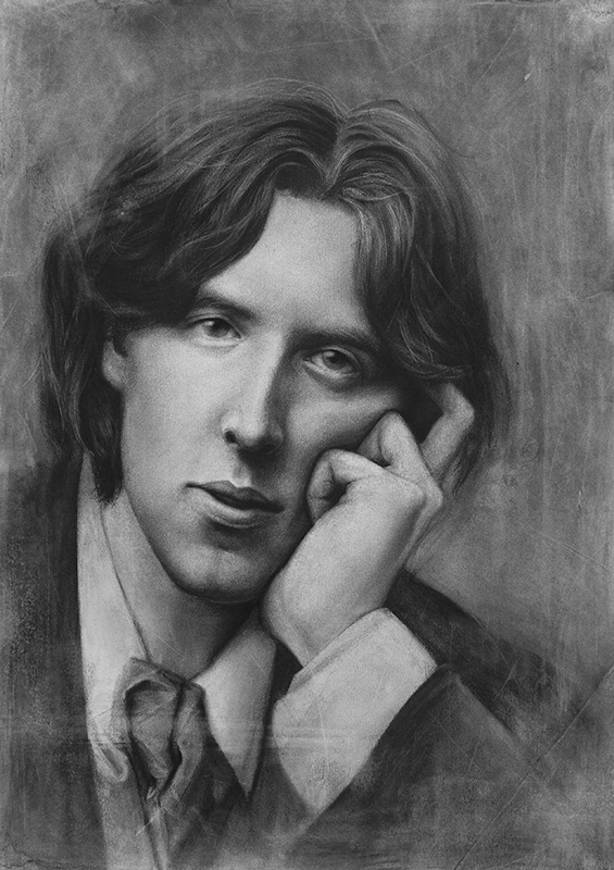 03-Oscar-Wilde-Liu-Ling-Faces-of-Writers-in-Charcoal-Drawings-www-designstack-co