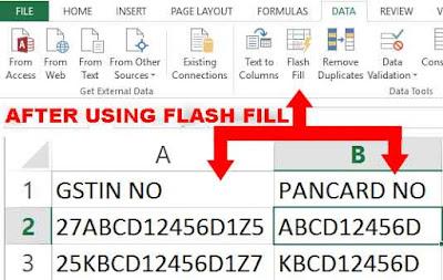 Excel flash fill in hindi, flash fill