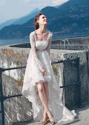 Vestido de Noiva Cauda e Manga Longa