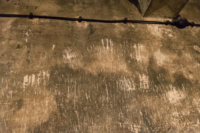 Σημάδια από γρατσουνιές στο εσωτερικό του θαλάμου αερίων στο Άουσβιτς