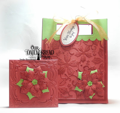 Our Daily Bread Designs Stamp/Die Duos: White as Snow, Custom Dies: Card Caddy & Gift Bag, Gift Bag Handles & Topper, Poinsettia Inset, Oval Stitched Rows, Peaceful Poinsettia, Layered Lacey Squares