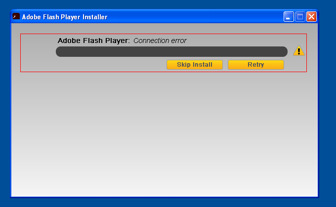 Adobe Flash Player Connection Error