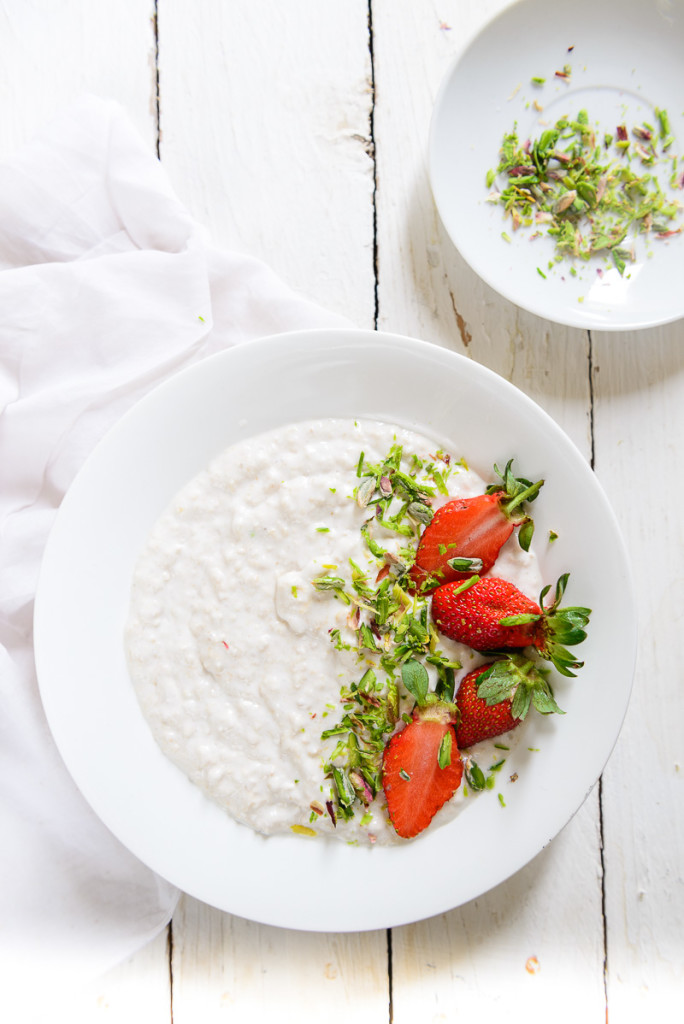 ... coconut milk, vanilla, and honey, then add fruit and pistachios the