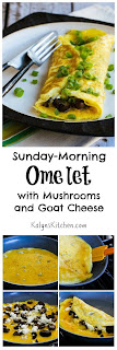 Sunday-Morning Omelet with Mushrooms and Goat Cheese  [from KalynsKitchen.com]