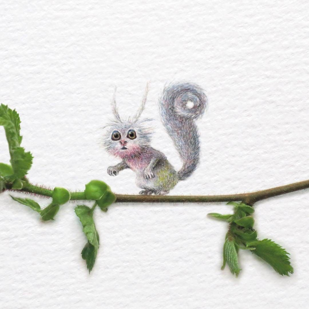 12-The-Squirrel-King-Frank-Holzenburg-Animals-and-Fantasy-Creatures-Tiny-Paintings-www-designstack-co