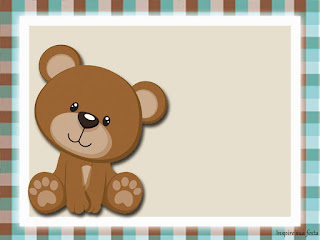 Bear in Brown and Light Blue  Free Printable Invitations, Labels or Cards.