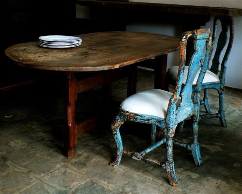 silla decapada en azul turquesa chicanddeco