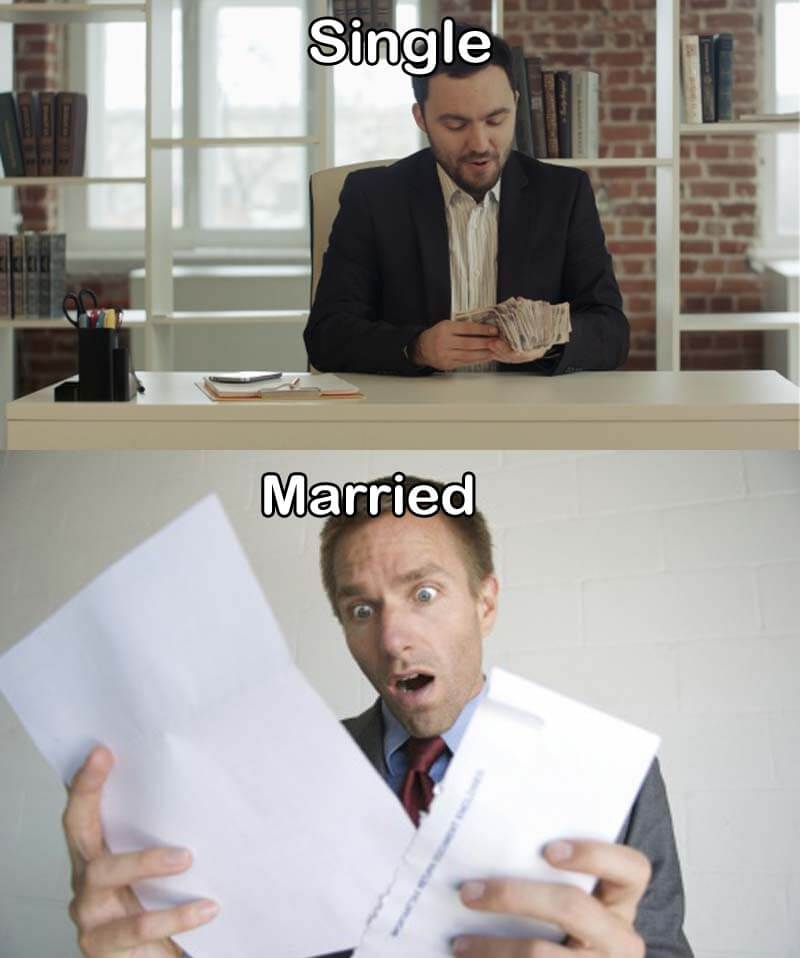 16 Funny Pictures Of The Startling Differences Between Single And Married Life - The cash versus the bills