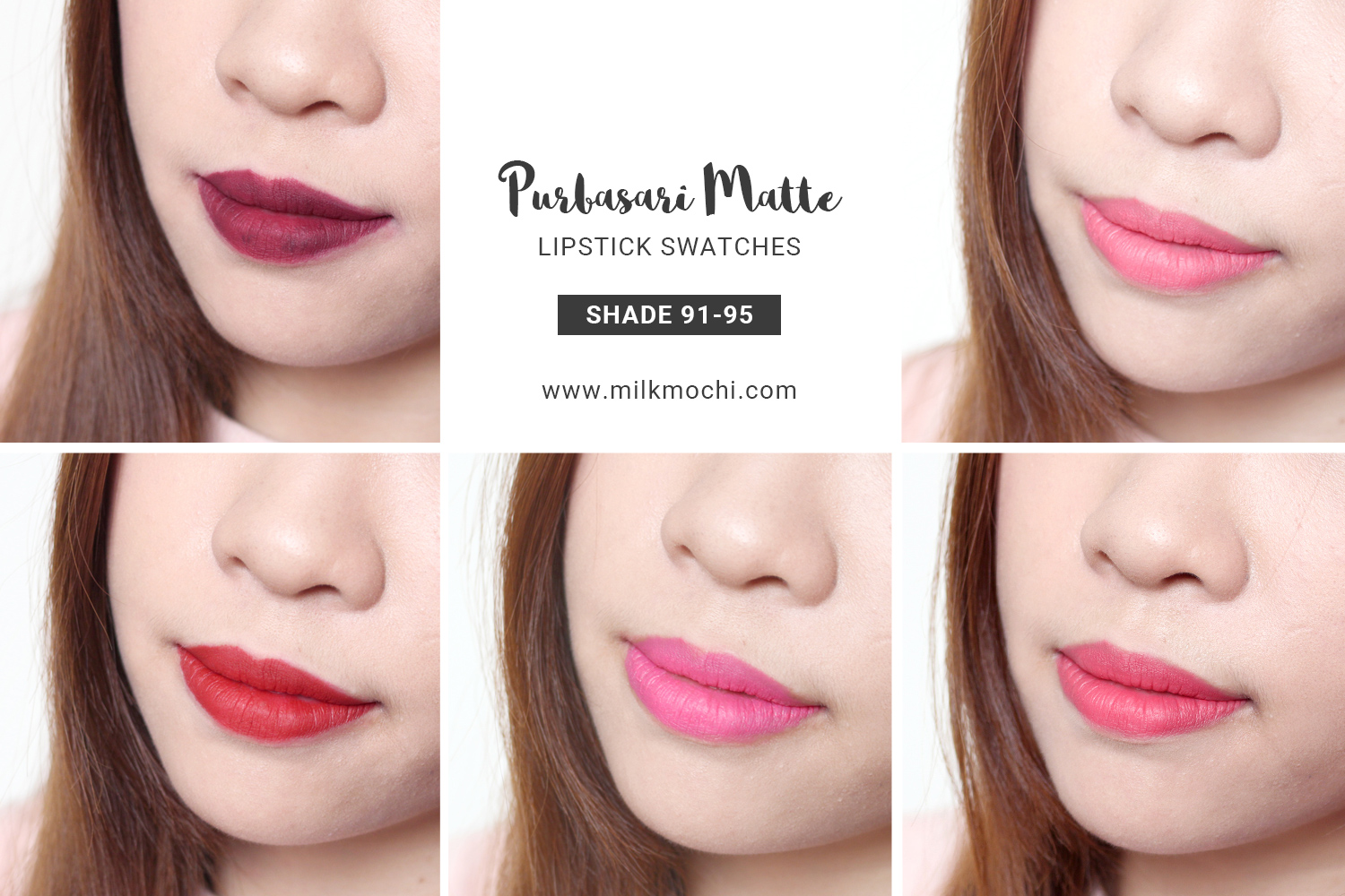 Purbasari Lipstick Swatch 90 The Art Of Beauty Lipstik Collor Matte Color New Shade No 91 95 Swatches And