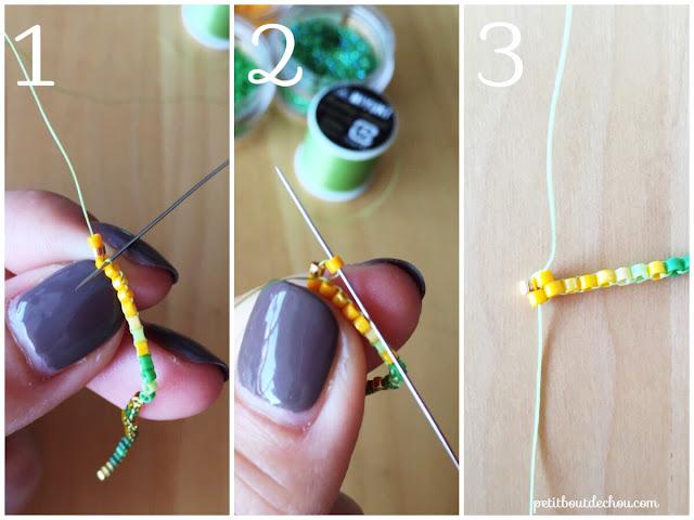DIY Beaded ginko leaf in brick stitch second row