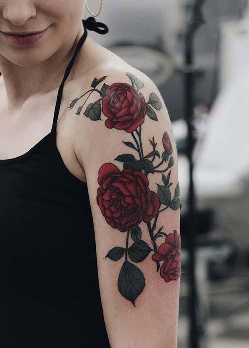 rose tattoo female kadım omuz ve kol gül dövmesi modelleri