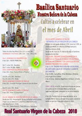 Romería Virgen de la Cabeza 2018 - Andújar - Programa de Actos en la Basílica