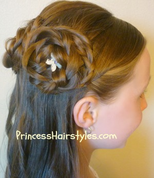 Amazing Half Up Rosette Buns Flower Girl Hairstyles Hairstyles For Hairstyle Inspiration Daily Dogsangcom