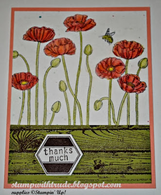 hardwood stamp, Pleasant Poppies, spring, Thank You, The Paper Players, Stamp with Trude, Stampin' Up!