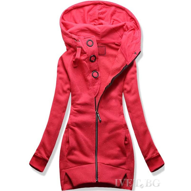 Γυναικείο κόκκινη φούτερ ζακέτα LILI RED