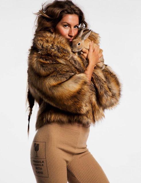 Gisele Bundchen for Vogue Paris by Inez and Vinoodh wearing a jacket of faux fur  by Nili Lotan