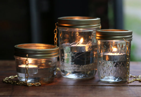 With the recent addition of our DIY terra cotta planter table and now these  floating jar lights, our back patio space is looking more and more  welcoming ...