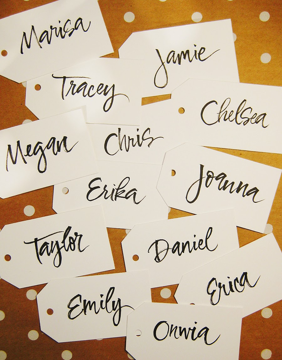 Ive Always Enjoyed Using A Brush For Calligraphy Its Not The Easiest Tool To Control But Fun These Are Some Name Tags I Did Sugar Paper