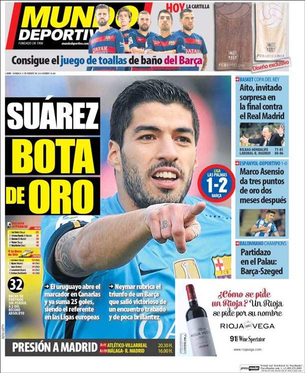 Portada del periódico Mundo Deportivo, domingo 21 de febrero de 2016