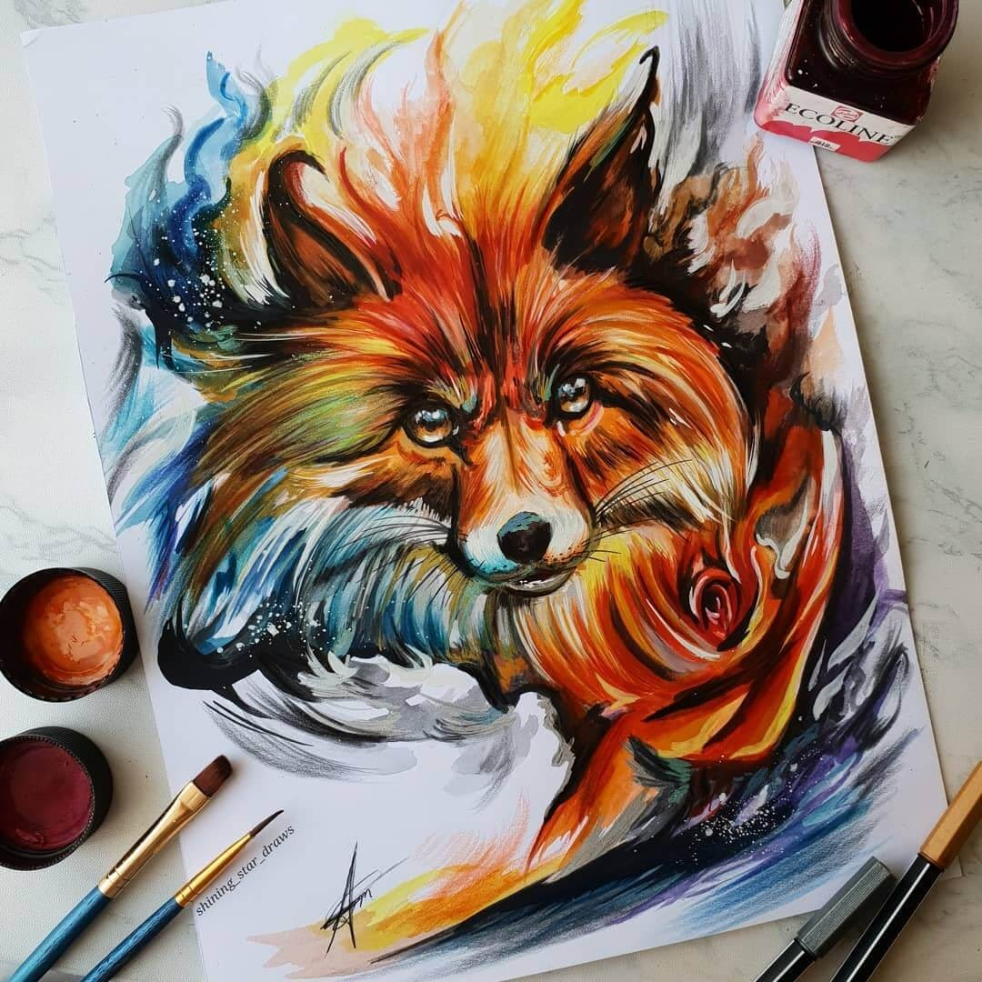10-Fire-Fox-Astchiek-Melkonian-Plenty-of-Color-in-Paintings-and-Drawings-www-designstack-co