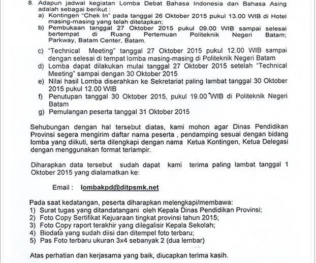 Lhatlah Disini Undangan Peserta Lomba Debat Bahasa Indonesia Dan Bahasa Asing Tingkat Nasional 2015 Budi Laksono